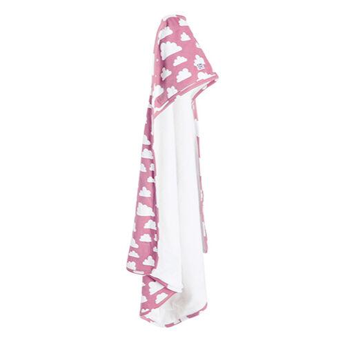 Rózsaszín felhős kapucnis törölköző, Farg&Form