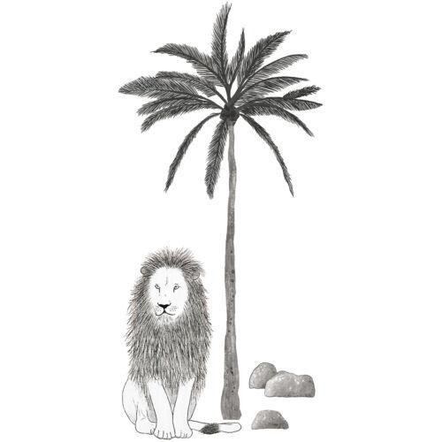 """""""Fekete-fehér oroszlán és pálmafa"""" nagy méretű falmatrica, Lilipinso"""