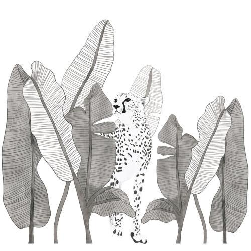 """""""Fekete-fehér leopárd és pálmalevelek"""" nagy méretű falmatrica, Lilipinso"""