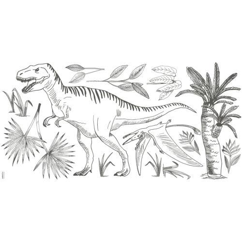 """""""Fekete-fehér T-rex"""" nagy méretű falmatrica, Lilipinso"""