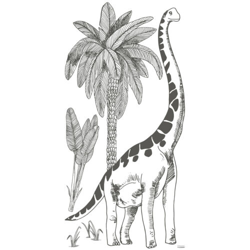 """""""Fekete-fehér brontoszaurusz"""" nagy méretű falmatrica, Lilipinso"""