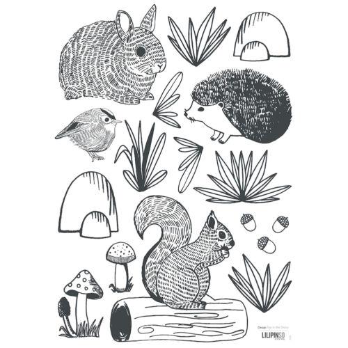 """""""Fekete-fehér erdei állatok"""" falmatrica, Lilipinso"""
