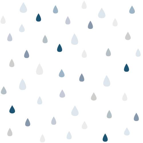 Kék - szürke esőcseppes tapéta gyerekszobába, Lilipinso