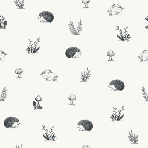 Fekete - fehér erdei állatos tapéta gyerekszobába, Lilipinso