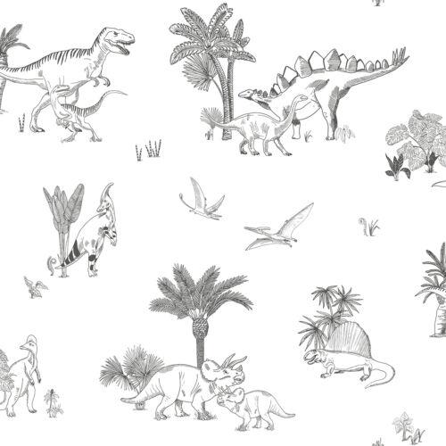 Fekete - fehér dinós tapéta gyerekszobába, Lilipinso