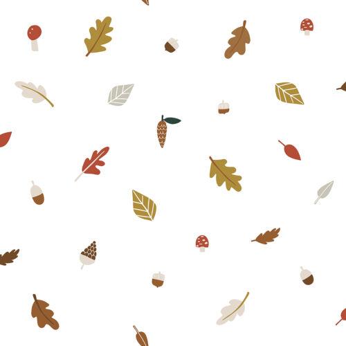 Őszi levél és termés mintás tapéta gyerekszobába, Lilipinso