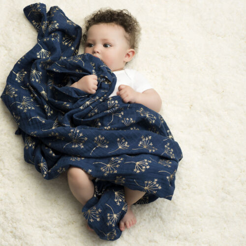 Sötétkék - arany muszlin takaró, 3-as csomag (aden+anais)