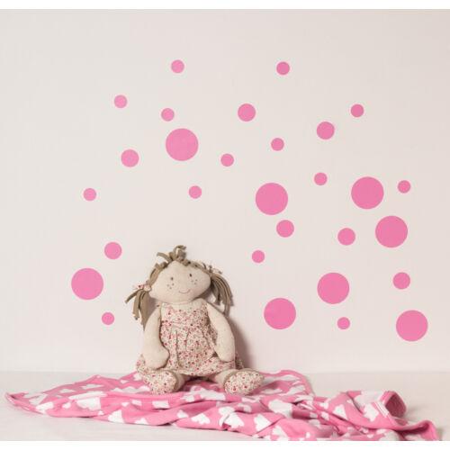 Rózsaszín pöttyös falmatricák, babyberry