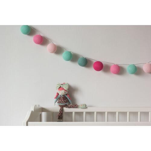 Menta-rózsaszín gömblámpa füzér (Cotton Ball Lights)