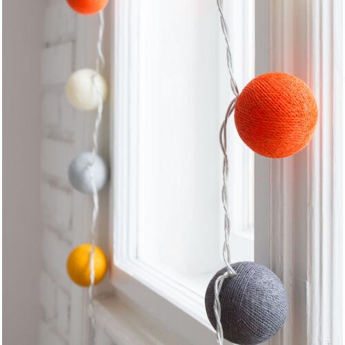 Szürke-sárga-narancs gömblámpa füzér (Cotton Ball Lights)