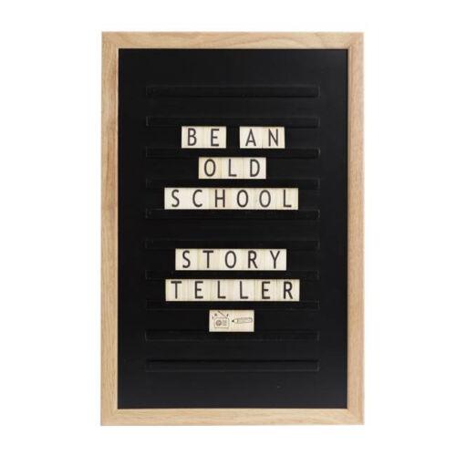 Fekete LEDR old school / fa betűtábla, 30x45 cm