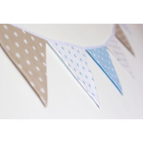 Bézs-kék csillagos zászló girland, Little Stars