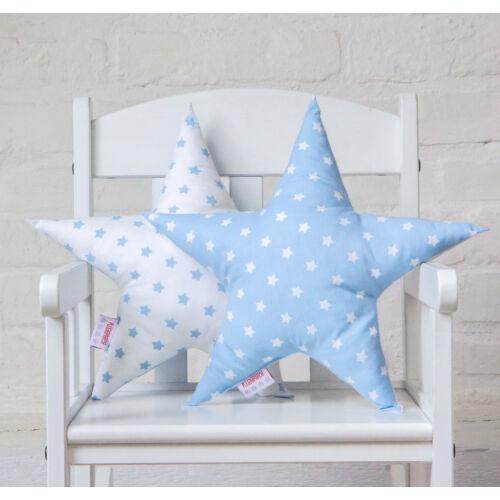 Kék-fehér csillag alakú díszpárna, Little Stars