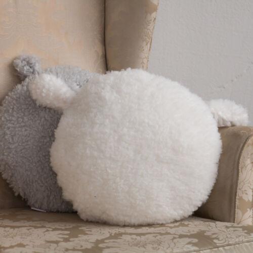 Fehér játékszőrmés kör párna, (babyberry)
