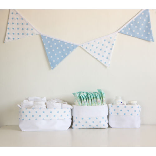 Kék csillagos textil tároló, háromféle méretben, Little Stars