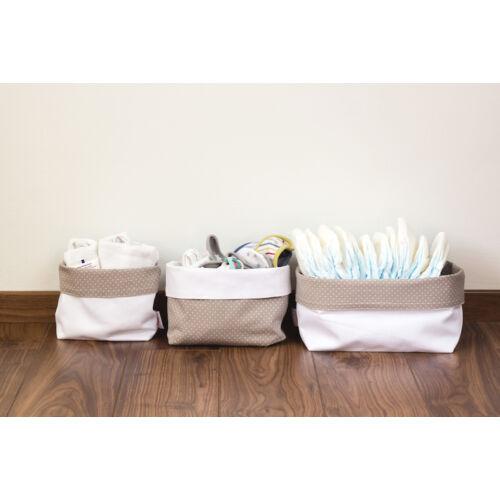 Szürke pöttyös textil tároló, háromféle méretben, Pastel Baby