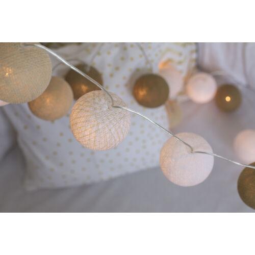 Arany-fehér gömblámpa füzér (Cotton Ball Lights)
