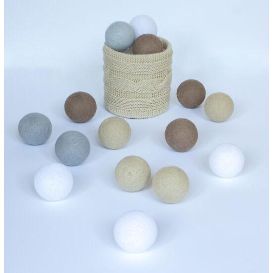Földszínek gömblámpa füzér (Cotton Ball Lights)
