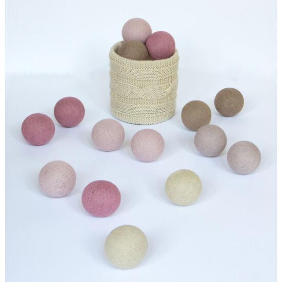 Pasztell rózsa gömblámpa füzér (Cotton Ball Lights)