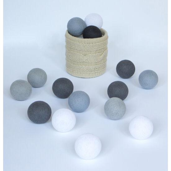 Szürkék gömblámpa füzér (Cotton Ball Lights)