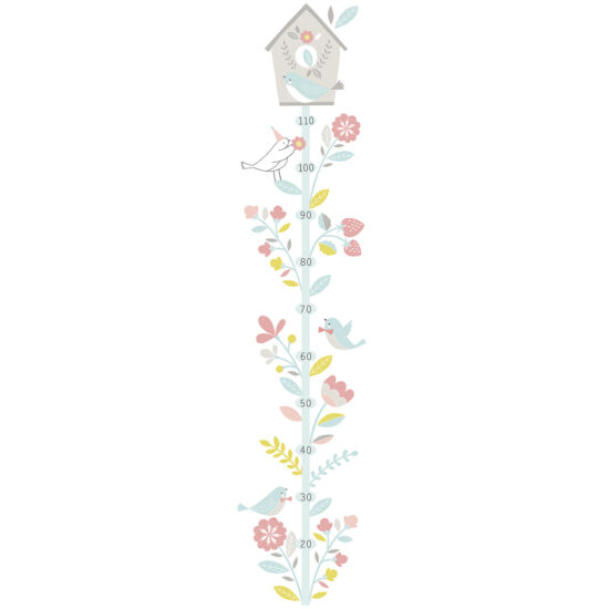 """""""Pasztell madarak és virágok"""" magasságmérős, nagy méretű falmatrica, Lilipinso"""