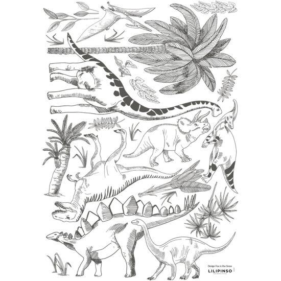 """""""Fekete-fehér dinók és növények"""" falmatrica, Lilipinso"""