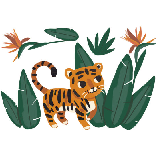 """Kis tigris a dzsungelben"" nagy méretű falmatrica, Lilipinso"