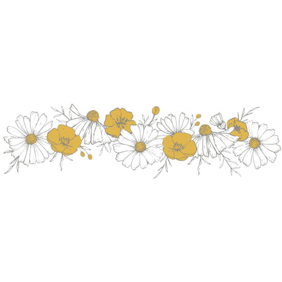 kamilla-boglárka virágkoszorú falmatrica