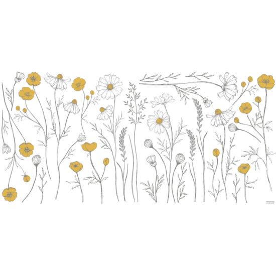 sárga-fehér réti virágok nagy méretű falmatrica