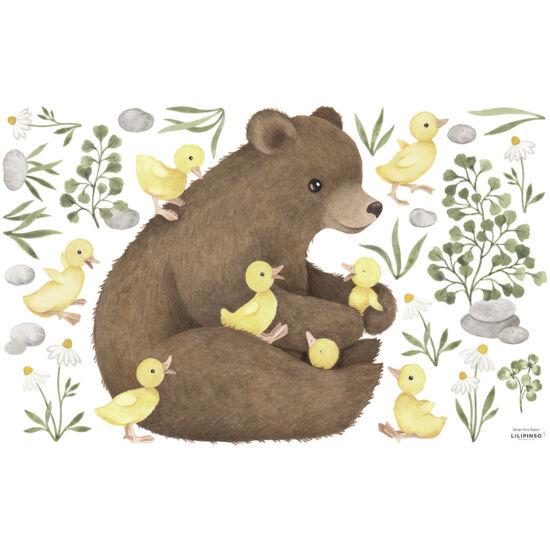 medve kiskacsákkal nagy méretű falmatrica