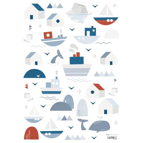 Bálna és hajó / falmatricák, Lilipinso