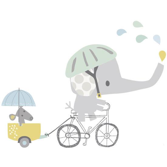 """Bicikliző elefánt"" nagy méretű falmatrica, Lilipinso"