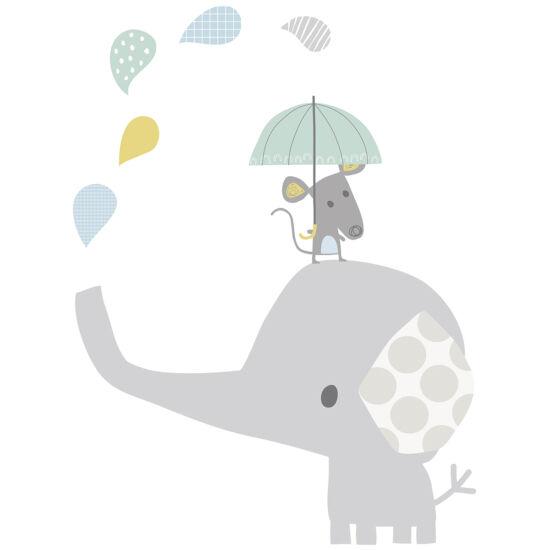 """""""Elefánt és kisegér"""" nagy méretű falmatrica, Lilipinso"""