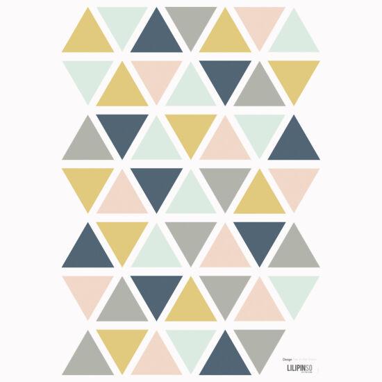 """""""Háromszögek"""" falmatrica, púder-mustár-szürke-kék, Lilipinso"""