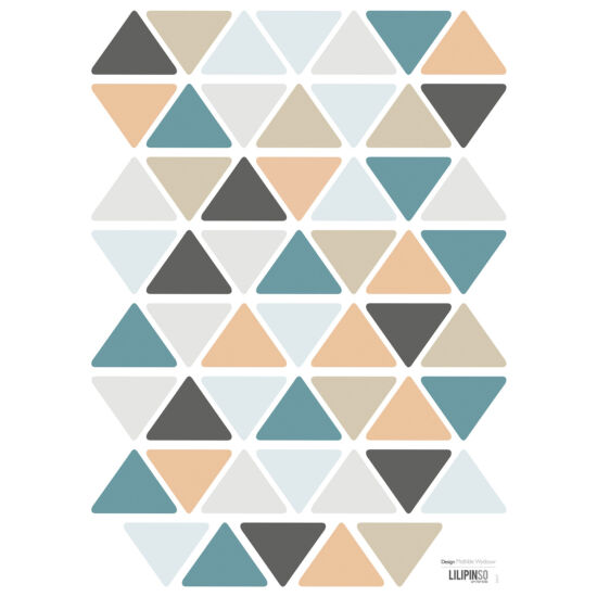 """""""Háromszögek"""" falmatrica, türkiz-szürke-kék-bézs, Lilipinso"""