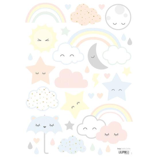 Pasztell felhő-csillag-szivárvány falmatricák, Lilipinso