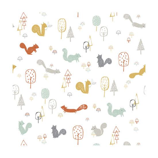 Erdei mókusos mintás tapéta gyerekszobába, Lilipinso
