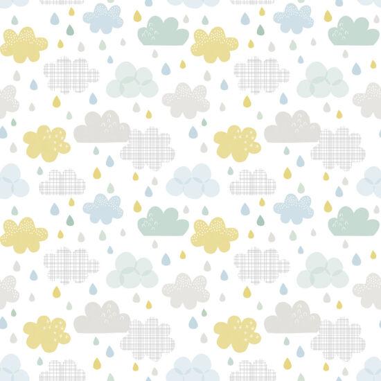 Felhő és eső mintás tapéta gyerekszobába, Lilipinso