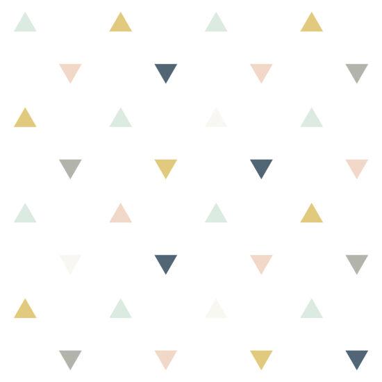 Háromszög mintás tapéta gyerekszobába (púder-mustár-szürke-kék), Lilipinso
