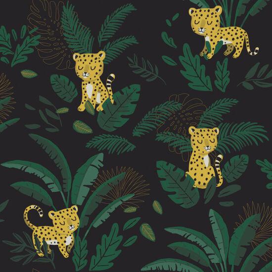 Leopárd és trópusi levél mintás tapéta gyerekszobába, éjszaka, Lilipinso