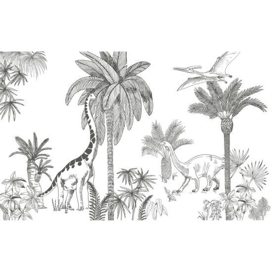Fekete - fehér dinós óriás tapéta gyerekszobába, Lilipinso