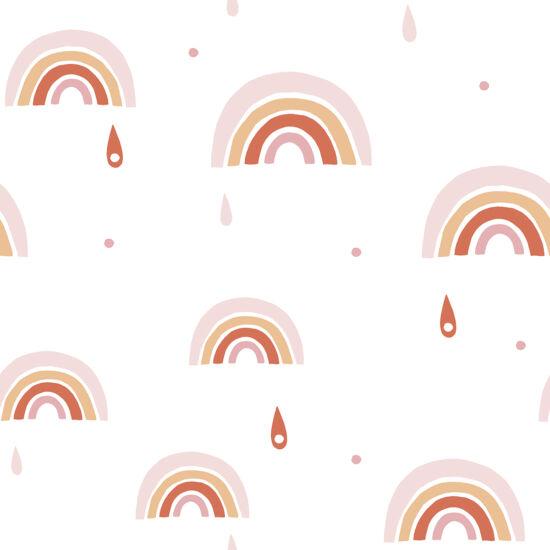 Rózsaszín szivárvány mintás tapéta gyerekszobába, Lilipinso