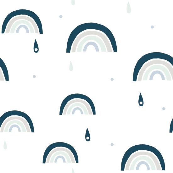 Kék szivárvány mintás tapéta gyerekszobába, Lilipinso