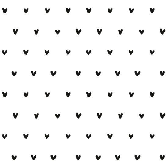 Fekete szívecskés tapéta gyerekszobába, Lilipinso