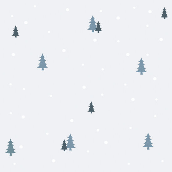 Fenyőfa és hópihe mintás tapéta gyerekszobába, Lilipinso