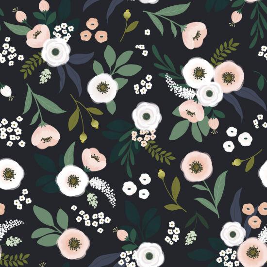 Virág és levél mintás tapéta gyerekszobába, sötét alapon, Lilipinso