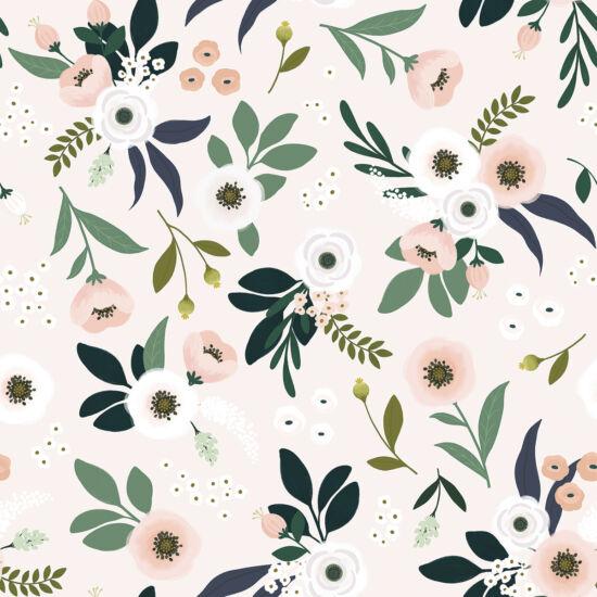 Virág és levél mintás tapéta gyerekszobába, világos alapon, Lilipinso