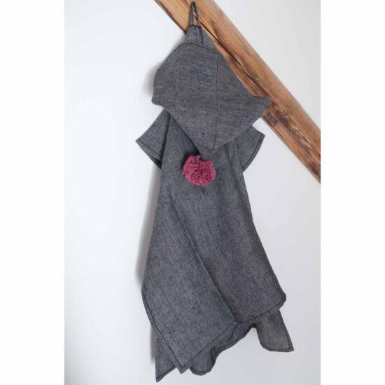 Kender kapucnis poncsó, fekete-lila (RokkaDesign)