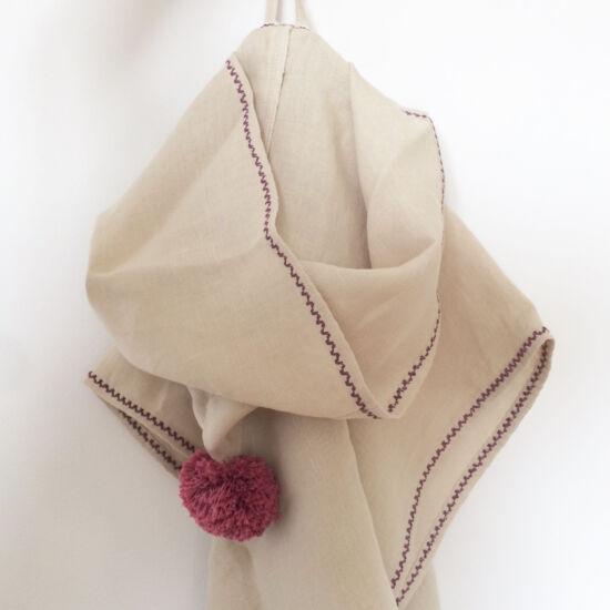 Kender kapucnis poncsó, natúr-lila (RokkaDesign)
