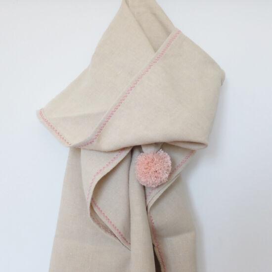Kender kapucnis poncsó, natúr-rózsaszín (RokkaDesign)